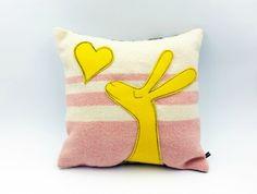 A Little Love Rabbit Cushion Cotton Velvet, Vintage Pink, Baby Gifts, Kids Room, Rabbit, Cushions, Craft Ideas, Throw Pillows, Blanket