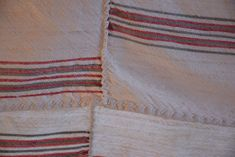 Antique Rustic Tablecloth Pure Linen Homespun Hand Woven Centre Seam Handmade Red Grey Stripes Upholstery Fabric Home Decor Country Style