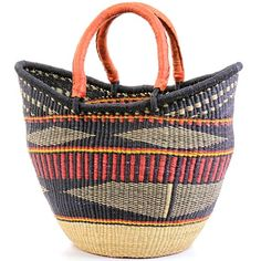 Yikene Tote | Coming from Yikene village, in the Bolgatanga region of Ghana, these baskets are traditionally used for carrying goods to and from the market. This is the Yikene interpretation of the regular 2 handled shoppers. Weavers in the region use the abundant Veta vera grass to weave these incredibly hardy, useful baskets.