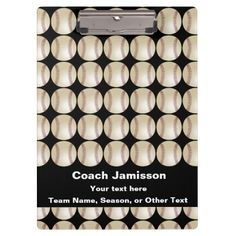 Clipboard Black, Baseball/Softball with ROSTER - This clipboard is a unique and fun thank you gift for the baseball or softball team coach! On the front - A baseball/softball pattern with a black background and white lettering - very bright and eye catching. On the back - the baseball/softball pattern, PLUS space for you to add the entire ROSTER!  All Rights Reserved © 2014 Alan & Marcia Socolik.  #Baseball #Softball #Gift4Coach