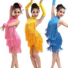 039e06d877b Child Kid Girls Tassel Dress Ballroom Latin Salsa Dancewear Party Dance  Costumes Salle De Bal