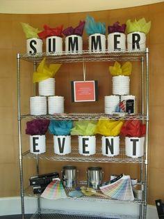 Display Idea Window Visual Merchandising | Paint Can Signage Ideas #window #display ... | Visual Merchandising101