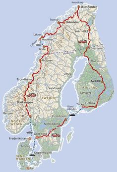 of rondreis naar de Noordkaap en Lofoten · Pharos Reizen Travel Maps, Places To Travel, Travel Destinations, Places To Go, Lofoten, Norway Roadtrip, Norway Travel, European Road Trip, Road Trip Europe