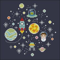 "This little cute cross stitch pattern is specially designed for space lovers kids, or ""adult"" kids! Astronauts, aliens and Rockets with unexplored planets and stars! It is designed to fit a 9 or 10 inches hoop if stitched on 14 count fabric."