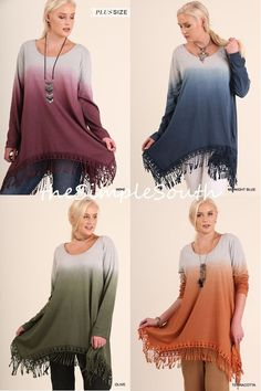 New UMGEE A-Line Ombre Dip Dye Long Legging Tunic Top Fringe Hem Womens Plus #Umgee #Tunic #Casual