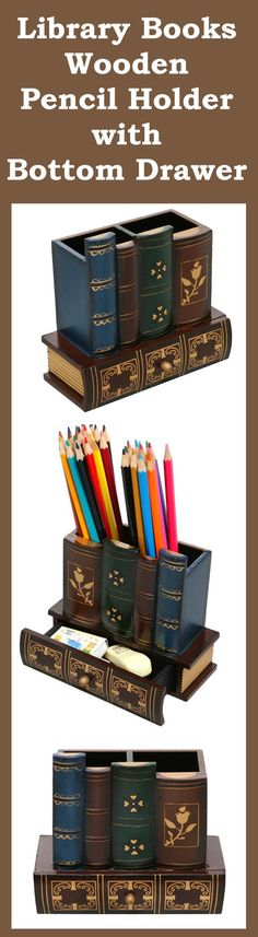 Library Books Pencil Holder with Bottom Drawer is the perfect gift for book-lovers! This decorative desk organizer designed to look like a set of ornate library books.