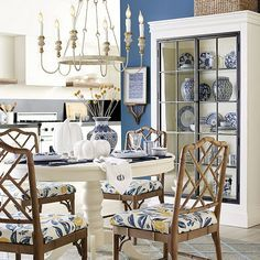 Blue & White Chinoiserie Collection | Ballard Designs Kitchen Lighting Fixtures, Dining Room Lighting, Light Fixtures, Blue Home Decor, Home Decor Kitchen, Elegant Chandeliers, Unique Chandelier, Chippendale Chairs, Blue And White Vase