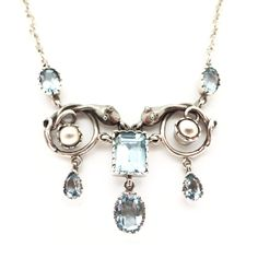 Vintage Sterling Silver Snake Aquamarine Glass Pearl Necklace   Clarice Jewellery