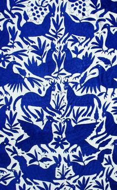 Mexican coverlets: these hand embroidered coverlets, known as tenangos, are crafted by the otomi indians from the mountains of the mexican state of hidalgo. the colorful designs are said to be inspired by the wall paintings on cliffs in the region. Textile Patterns, Textile Design, Color Patterns, Print Patterns, Mexican Fabric, Mexican Folk Art, Mexican Pillows, Bleu Indigo, Mexican Embroidery
