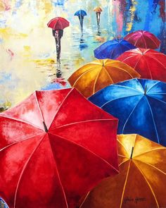 Monica Moraes Art Acrylic on canvas Umbrellas Oil Pastel Paintings, Oil Pastel Drawings, Simple Acrylic Paintings, Umbrella Painting, Umbrella Art, Pencil Drawings Tumblr, Art Drawings, Rain Art, Bright Art