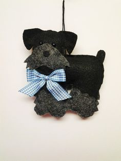 Felt Miniature Schnauzer Ornament -Personalized Ornament - Felt Dog - Black…
