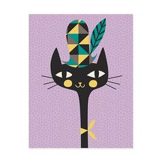 GreenBox Art 'Modern Kitty' by Amy Blay Graphic Art on Canvas Size: 1 Canvas Frame, Canvas Wall Art, Canvas Size, Textured Canvas Art, Gold Map, Painting Prints, Art Prints, Daisy, Art Wall Kids