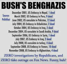 Never forget Bush's Benghazis, because republicans will try to rewrite history. Political Views, Political Quotes, Political Issues, Right Wing, Republican Party, We The People, In This World, Wisdom, Facts