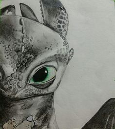 Incredible colored pencil drawing of Toothless from How to Train Your Dragon