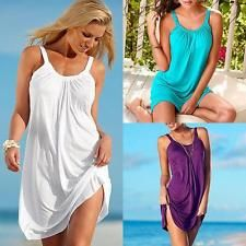 Women Summer Sleeveless Loose Party Beach Dress Short Mini Dress White Size M #dresses #fashion #style #women #trend
