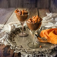 Vegan Chocolate Mousse with Maple Walnuts is an amazing dessert made light and foamy like a traditional French Chocolate Mousse only completely dairy free.