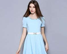 Elegant Beading Round Collar Short Sleeve Big-Hem Skirt One-Piece Dress http://www.fashion-wholesaler.com/dresses-c-10200/elegant-beading-round-collar-short-sleeve-bighem-skirt-onepiece-dress-p-2550.html