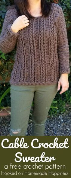 Cable Crochet Sweater Pattern - First and foremost, this sweater is a yarn eater!! I had to go back to the store to buy more yarn… TWICE! It's bad enough that I never estimate enough yarn for a sweater project, but I did it twice with this one! But it was totally worth it because I am absolutely in love …