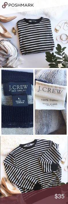 """- J.CREW - 100% Cotton Striped Sweater Classic stripes shine in this cozy 100% cotton sweater.  Wear oversized with leggings and booties for a casual fall walk or dress up with dark wash skinny jeans and jewelry. Excellent pre-loved condition, no flaws. Approx. Measurements  Length: 26.5"""" Bust: 23"""" Bundle & Save 20% on 2+ items! No trades / selling off of Posh.  ✨Offers always welcome!✨ J. Crew Sweaters Crew & Scoop Necks"""