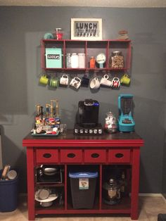 Kitchen Coffee Bar! | Jean Anne at Home red furniture redo diy with industrial shelf