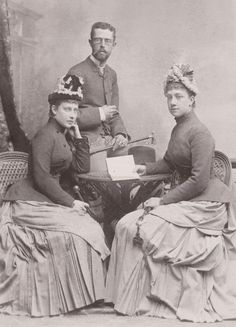 Princess Charlotte of Prussia, later Duchess of Saxe-Meiningen with her cousin Crownprincess Victoria of Sweden (née Baden) and her husband Crownprince Gustaf (later King Gustaf V) of Sweden. Circa 1880