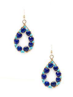 Lapis & Turquoise Open Teardrop Earrings