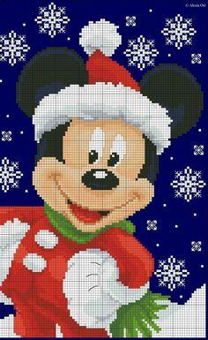 Mickey's Christmas free cross-stitch pattern in blocks. Part 2 of 2 Xmas Cross Stitch, Cross Stitch Kits, Cross Stitch Charts, Cross Stitch Designs, Cross Stitching, Cross Stitch Embroidery, Embroidery Patterns, Loom Patterns, Disney Christmas