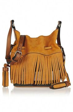 Burberry London Brit fringed suede and checked canvas bucket bag 70f7813d17e14