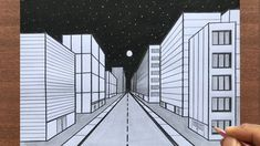 Perspective Drawing One Point, Perspective Art, Building Painting, Building Drawing, Cartoon Town, Town Drawing, Pine Tree Art, Art Drawings Sketches Simple, Cartoon Drawings