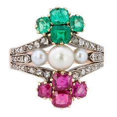 Nineteenth Century Pearl Emerald Ruby Diamond Ring | From a unique collection of vintage more rings at http://www.1stdibs.com/jewelry/rings/more-rings/