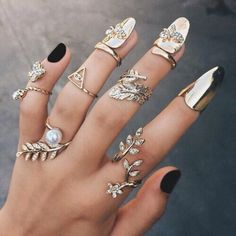 Nail accessories: nail rings, nails, gold, accessories, rings and ...