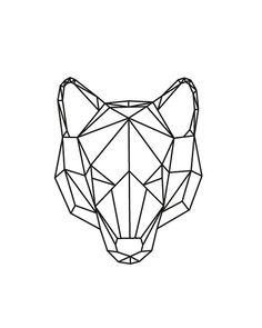 Op deze afbeelding zie je verschillende vormen ( rechthoeken, driehoeken etc..) die de vorm van een wolf vormen