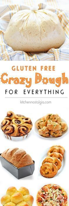 Gluten-Free Crazy Dough - make one dough keep it in your fridge and use it for anything you like: bread pizza dinner rolls cinnamon rolls garlic knots pretzels focaccia etc. Gluten Free Pastry, Gluten Free Cookies, Gluten Free Desserts, Vegan Gluten Free, Gluten Free Recipes, Gluten Free Yeast Rolls, Gluten Free Garlic Bread, Gluten Free Pretzels, Lactose Free