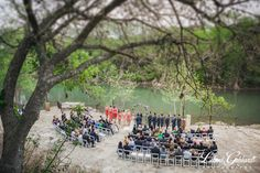 The view of our outdoor wedding in New Braunfels, TX at Hideout on the Horseshoe on the Guadalupe River.
