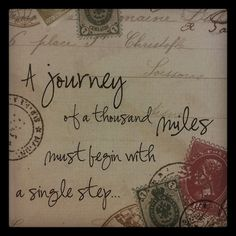 A journey of a thousand miles quotes vintage letter journey step miles stamps handwriting