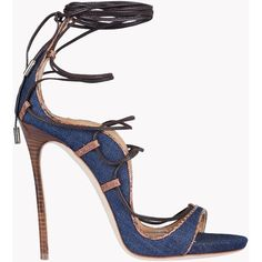Dsquared2 High-heeled Sandals ($825) ❤ liked on Polyvore featuring shoes, sandals, dark blue, leather heeled sandals, reptile shoes, genuine leather shoes, dsquared2 and real leather shoes
