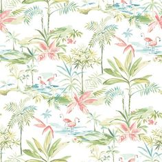Lagoon Teal Watercolor Wallpaper Brewster Wallcoverings Multi Colored Botanical Wallpaper Floral & Plants Wallpaper Tropical Wallpaper, Easy Walls, Easy to clean , Easy to wash, Easy to strip