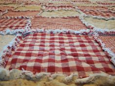 King Size Quilt,  Red Homespun, Rag Style,  Country Primitive Bedding - Handmade in NJ - on Etsy, $300.00