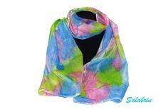 """Seidenschal """"Melli"""" - weicher Schal aus reiner Seide - blau - rosa - grün - ein Designerstück von Salabrin bei DaWanda"""