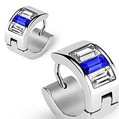 316L Surgical Stainless Steel Hoop Earring Emerald Cut Blue Clear CZs