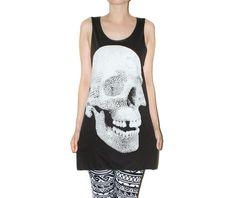 Crystal Diamond Skull Rock Tank Music Punk Shirt Size M  (cute pants too)