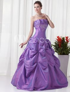 Romantic Lavender Embroidery Taffeta Strapless Ball Gown. See More Strapless at http://www.ourgreatshop.com/Strapless-C950.aspx