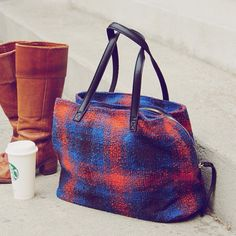 Campus Tote | a cozy fall plaid adorns this darling tote | plus a sneak peek at our vintage boot collection that will premier on the site very soon | photoed with our new tote - a pair of vintage Frye Boots that we are in love with #spool72 #fall #plaid #frye #tote