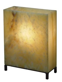 "Onyx Lamp Rectangle Small - Iron Black Metal Base w/Onyx *sold individually  9.5""W x 4""D x 12.25""H"
