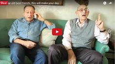 85 year old best friends (so cute!) These guys are hilarious! I'd like to have this with my BFF old and silly I Smile, Your Smile, Make You Smile, V Video, Watch Video, Old Best Friends, Happiness, Thing 1, Lol