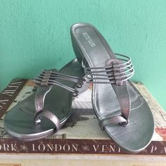 """Kenneth Cole leather sandals sz 11 NEW New in box metallic sandals by Kenneth Cole. Size 11. 2""""  wedges.  Worn around the house. Very comfy, but my big fat toe can barely fit in :) Kenneth Cole Shoes Sandals"""