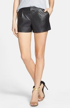 $198, Halogen Leather Shorts. Sold by Nordstrom. Click for more info: https://lookastic.com/women/shop_items/38568/redirect