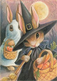 The bunny, dressed as a ghost for Halloween, makes me laugh! Art by Lynn Bonnette (SOLD)