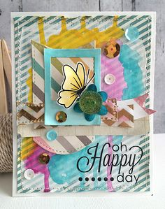 ~ happy day ~ - Scrapbook.com - Use Gelatos and watercolors on cards too!