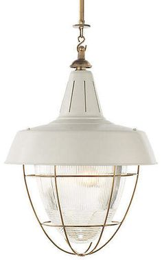 Henry Industrial Pendant - White/Brass - Visual Comfort & Co.